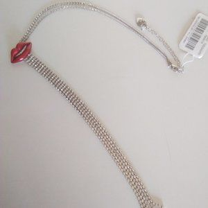 Betsey Johnson New Red Lips Necklace